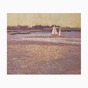 Luce sull'acqua, pastello ad olio impressionista, William Henry Innes, 1950