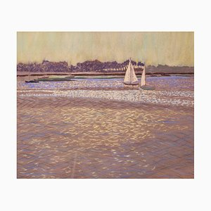 Luz sobre el agua, pastel al óleo impresionista, William Henry Innes, 1950