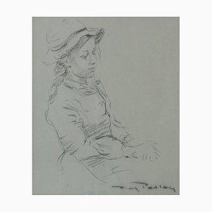 Chica con sombrero, finales del siglo XX, dibujo figurativo de Roy Petley, años 80