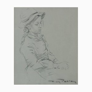 Girl in a Hat, Late 20th-Century, Figurative Sketch by Roy Petley, 1980s