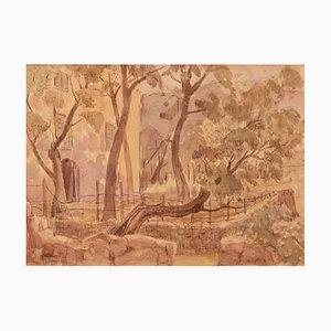 Acuarela impresionista Early Morning Provence de finales del siglo XX de Archer, años 80