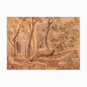 Am frühen Morgen Provence, spätes 20. Jahrhundert, Impressionist Aquarell von Archer, 1980er