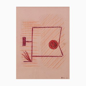 Mid-Century, Abstract Mixed Media Drawing by Rem Raymond Coninckx, Belgium, 1963