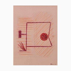 Mid-Century, Abstract Mixed Media Zeichnung von Rem Raymond Coninckx, Belgien, 1963