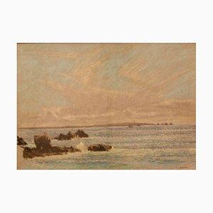 Paysage Marin St Ives, Pastel Impressionniste, William Henry Innes, 1960