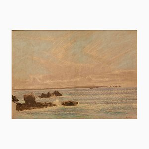 Seascape St Ives, Impressionist Pastel, William Henry Innes, 1960