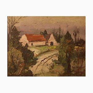 Casa de campo inglesa, principios del siglo XX, óleo impresionista, Paul Earee, 1925