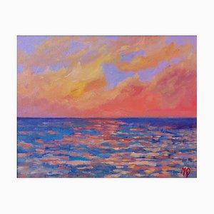 Sunset from Porthmeor Beach, St Ives, fine XX secolo, acrilico di Quirke, anni '90