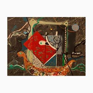 Eric der Rote, Wikinger, Mitte des 20. Jahrhunderts, Mixed Media Abstract Piece, George De Goya, 1970er
