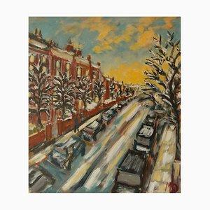 Winters Evening Hampstead, fine XX secolo, acrilico impressionista di Quirke, 1995