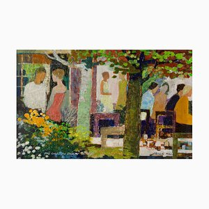 The Garden Party, Impressionist Oil, Frank Hill, 1970