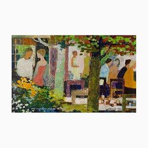 The Garden Party, óleo impresionista, Frank Hill, 1970
