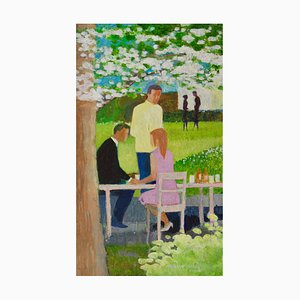 Spring Dining, Oil of Garden Cafe, Frank Hill, 1970