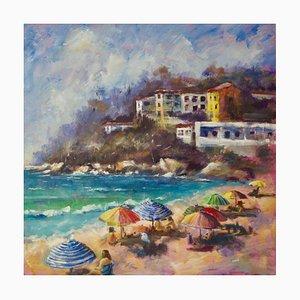 Brolly Day, Spätes 20. Jh., Impressionistische Öllandschaft von Denise Allen, 1990er