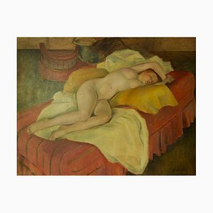 The Model Asleep, Mid 20th-Century, Oil Painting by Dorothy King, 1940s