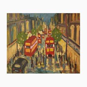 West End London, finales del siglo XX, acrílico impresionista de Michael Quirke, 1995
