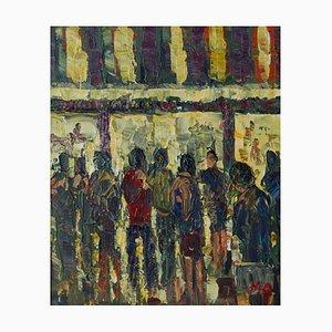 Late Night Shopping, finales del siglo XX, acrílico impresionista de Londres, Quirke, años 90