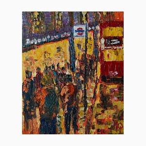 London High Street, finales del siglo XX, acrílico impresionista de parada de autobús, Quirke, años 90