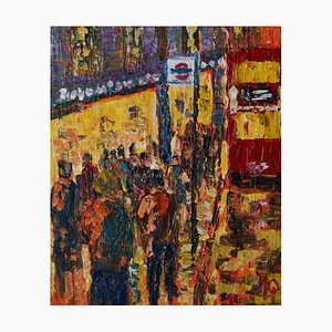 London High Street, Late 20th-Century, Impressionist Acrylic of Bus Stop, Quirke, 1990s