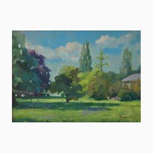 Summer Park, óleo impresionista, Anthony Rickards, 1970