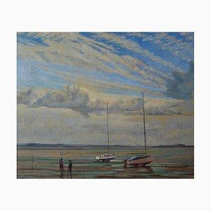 Barche a vela ormeggiate, olio impressionista, William Henry Innes, 1950