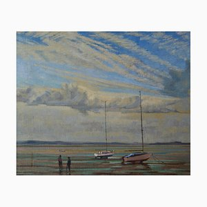 Moored Sailing Boats, Impressionist Oil, William Henry Innes, 1950