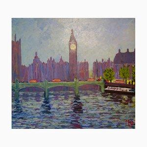 Westminster, finales del siglo XX, acrílico impresionista de Londres, Michael Quirke, 2000