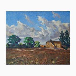 Casa de campo inglesa, óleo impresionista, William Henry Innes, 1950