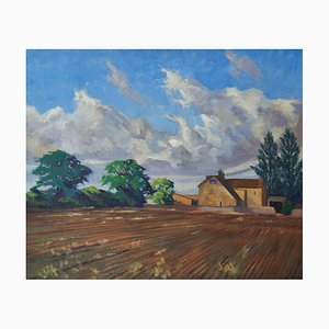 Fattoria inglese, olio impressionista, William Henry Innes, 1950