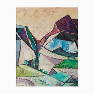 Abstrakte Landschaft, Mitte des 20. Jh., Kubistisches Ölgemälde, Dennis Henry Osborne, 1970er