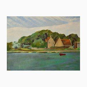 Por el río Yar, óleo impresionista, William Henry Innes, 1950