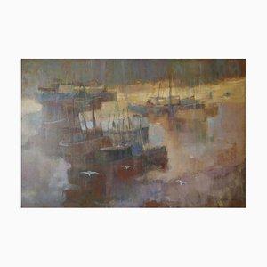Morning Light Seascape, Oil of Boats England, Donald Blake, 1950