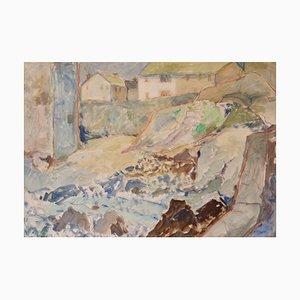 St Ives, óleo impresionista de Cornualles, Reino Unido, Muriel Archer, 1980