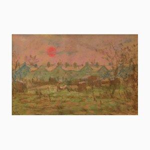 Ville Impressionniste, Milieu du 20ème Siècle, Paysage Pastel par William Mason, 1950s