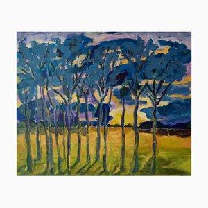 Evening Shadows, Post Impressionist Trees at Sunset Acryl von Diane Hart, 2003
