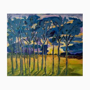 Evening Shadows, Post Impressionist Trees at Sunset Acrylic by Diane Hart, 2003