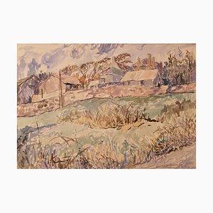 Aldea de Cornualles, finales del siglo XX, campo de acuarela de Muriel Archer, años 80
