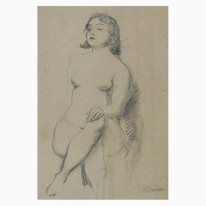 Dibujo a lápiz de una niña posando, principios del siglo XX, Bruno Beran, años 30