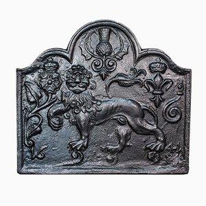 Antique English Victorian Decorative Cast Iron Fireplace Back, 1900s