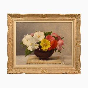 Pintura de flores, pintura de naturaleza muerta, siglo XX, óleo sobre lienzo