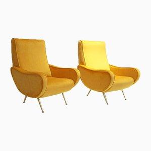 Italienische Senfgelbe Sessel, 1950er, 2er Set