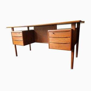 Dänischer Teak Schreibtisch mit Schwebender Tischplatte von Peter Løvig Nielsen für Dansk Design