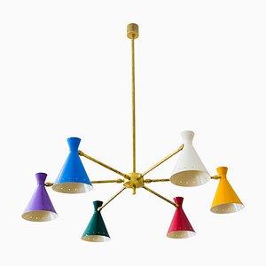 Lámpara de araña italiana Mid-Century ajustable, años 60