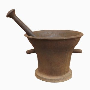 Antique Iron Pharmacy Mortar with Pestle, 16th-Century, Set of 2
