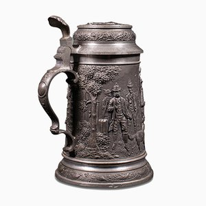 Antique Bavarian Beer Stein with Decorative Relief, Germany, 1920s