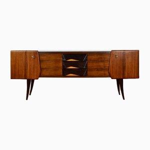 Italienisches Mid-Century Sideboard aus Nussholz, Buche & Messing, 1950er