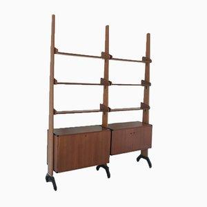 Libreria modulare in legno, ferro e ottone, anni '60