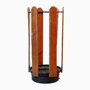 Portaombrelli in ferro, alluminio e legno, anni '50