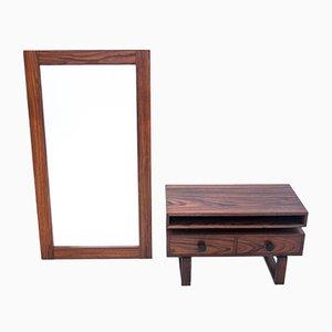 Specchio in palissandro con comò, anni '60, set di 2