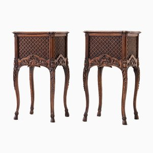 19th Century French Oak Bedside Tables, Set of 2